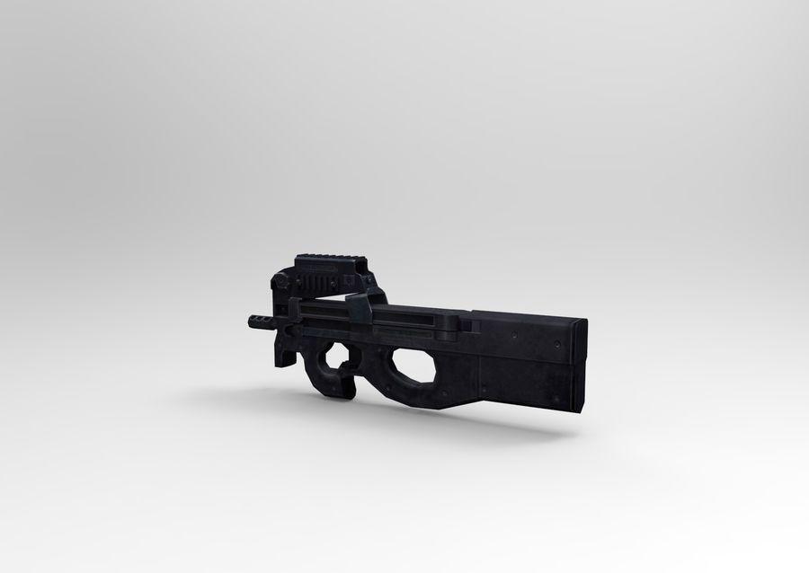machine gun low poly royalty-free 3d model - Preview no. 3
