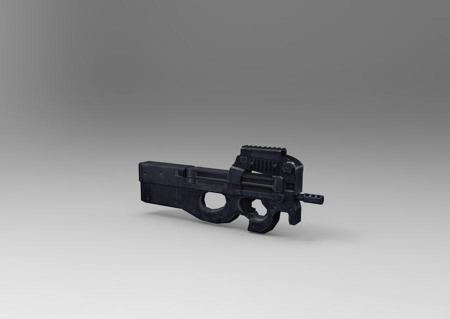 machine gun low poly royalty-free 3d model - Preview no. 8