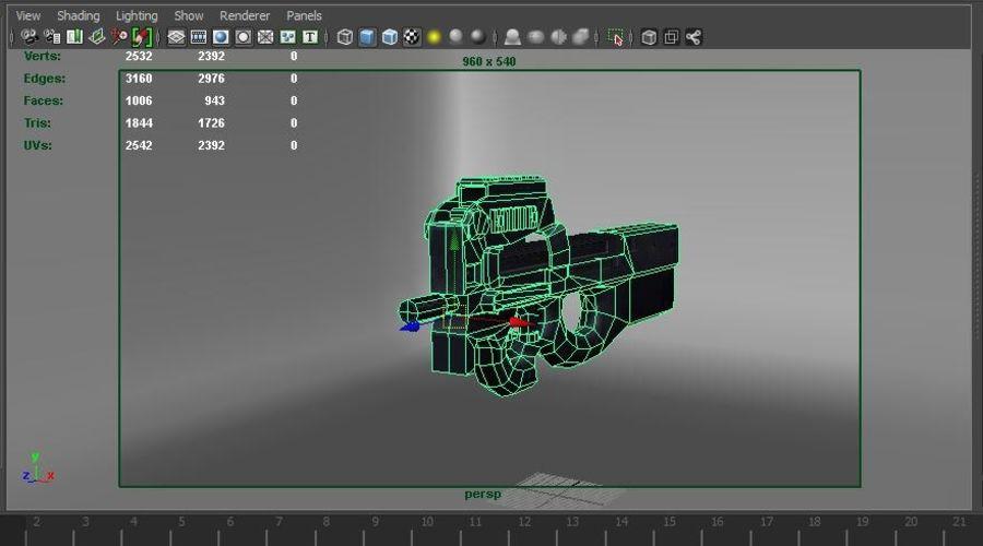 machine gun low poly royalty-free 3d model - Preview no. 23
