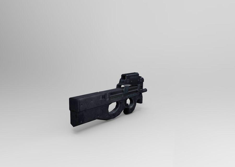 machine gun low poly royalty-free 3d model - Preview no. 6