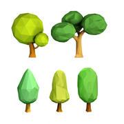 karikatür ağaçlar düşük Poli 3d model