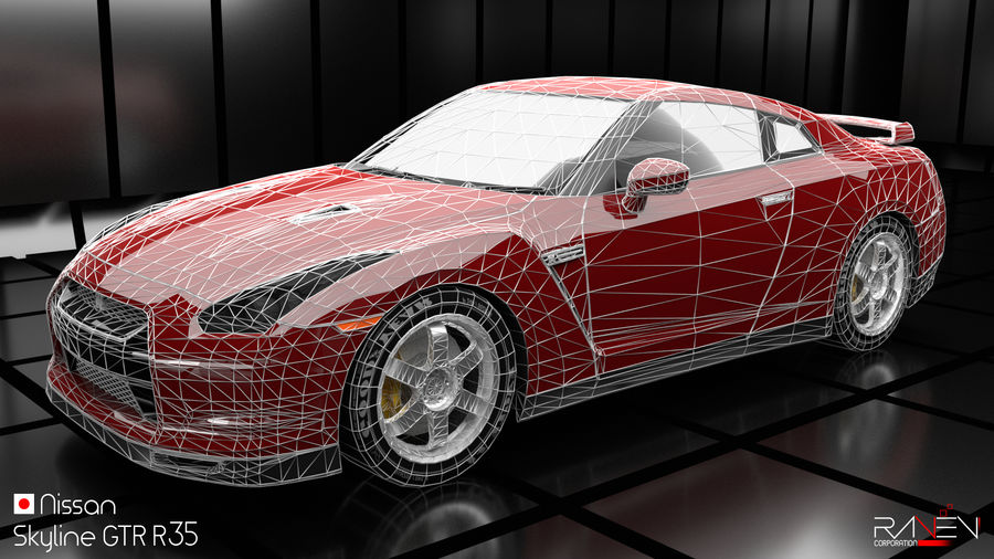 Nissan Skyline GTR R35 royalty-free 3d model - Preview no. 6