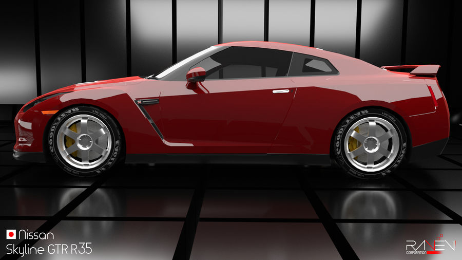 Nissan Skyline GTR R35 royalty-free 3d model - Preview no. 3