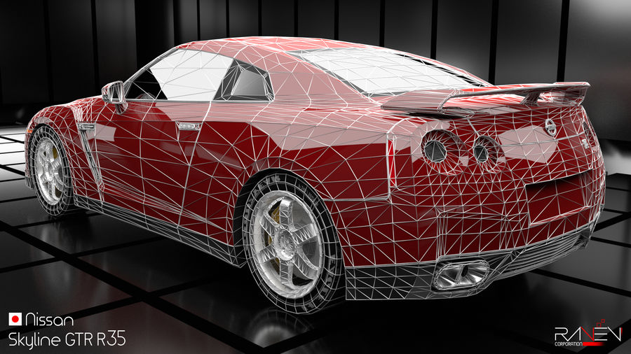 Nissan Skyline GTR R35 royalty-free 3d model - Preview no. 7