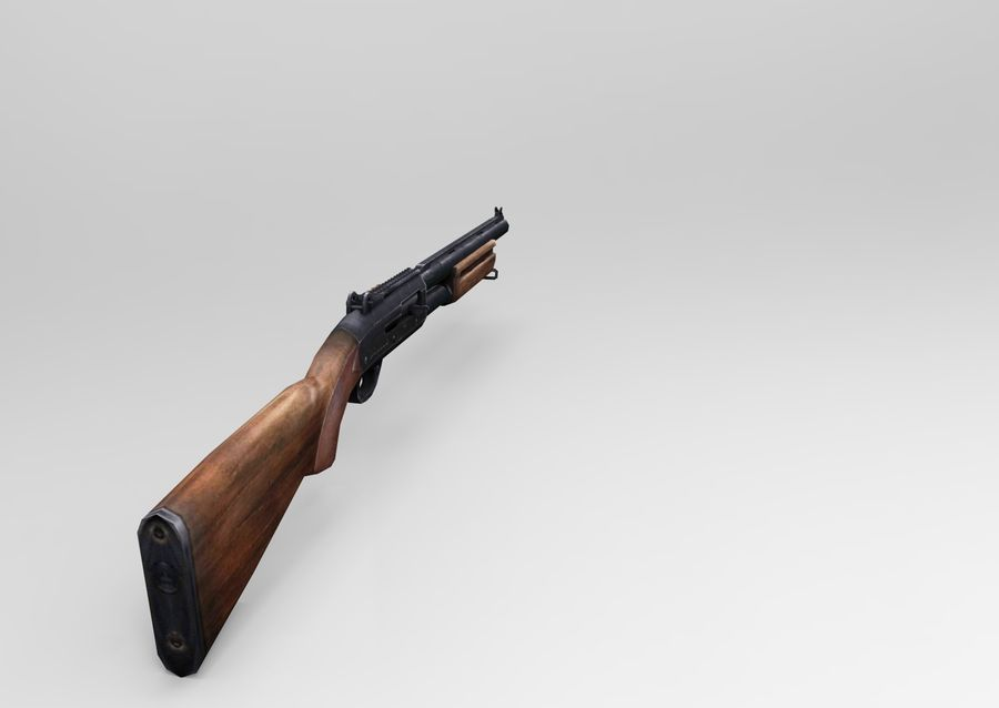 Rifle low poly weapon royalty-free 3d model - Preview no. 11