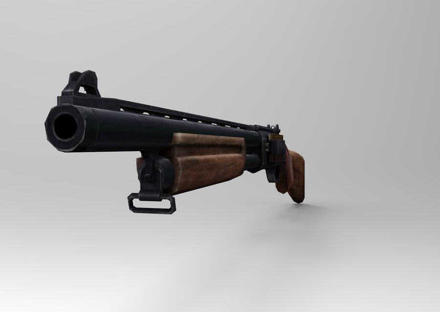 Rifle low poly weapon royalty-free 3d model - Preview no. 14