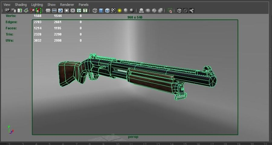 Rifle low poly weapon royalty-free 3d model - Preview no. 26