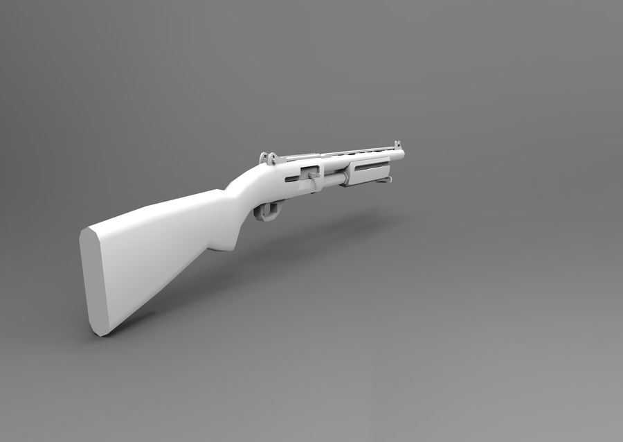 Rifle low poly weapon royalty-free 3d model - Preview no. 22