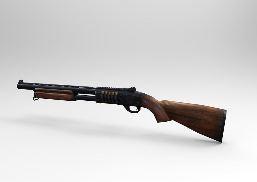 Fucile basso poli arma royalty-free 3d model - Preview no. 8