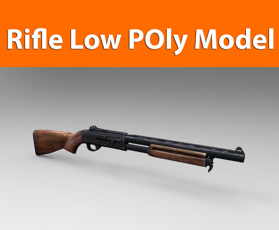 Rifle low poly weapon royalty-free 3d model - Preview no. 1