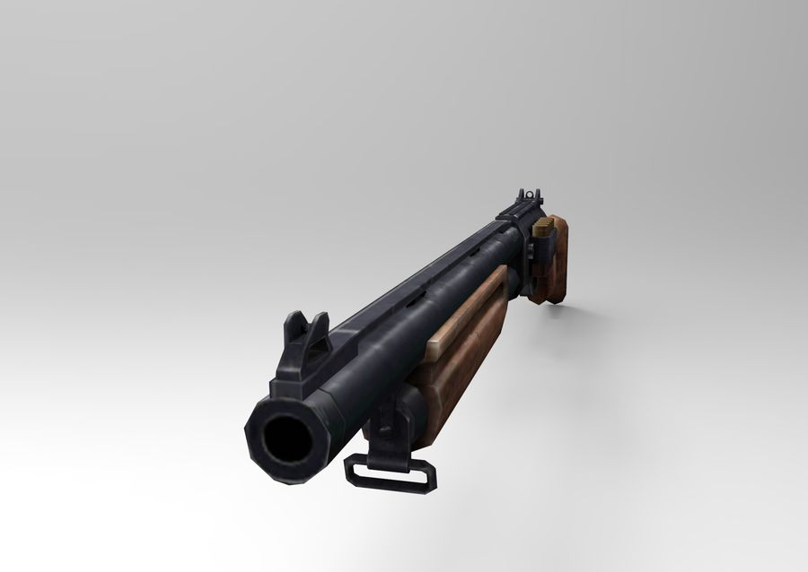 Rifle low poly weapon royalty-free 3d model - Preview no. 15