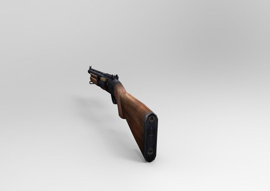 ライフル低ポリ武器 royalty-free 3d model - Preview no. 10