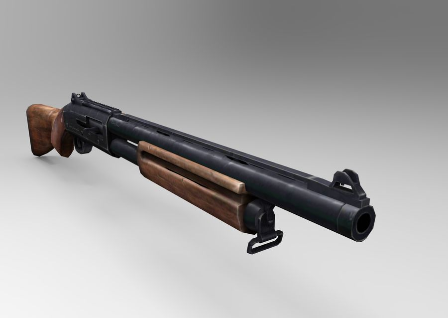Rifle low poly weapon royalty-free 3d model - Preview no. 16