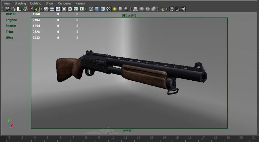 Rifle low poly weapon royalty-free 3d model - Preview no. 25