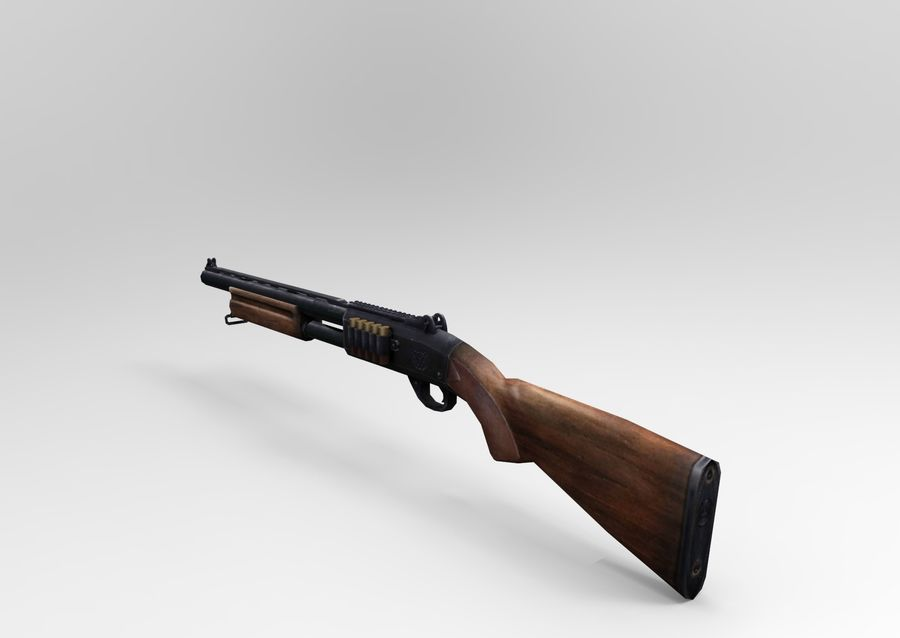 Fucile basso poli arma royalty-free 3d model - Preview no. 9
