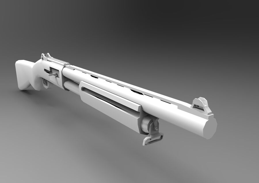 Rifle low poly weapon royalty-free 3d model - Preview no. 17