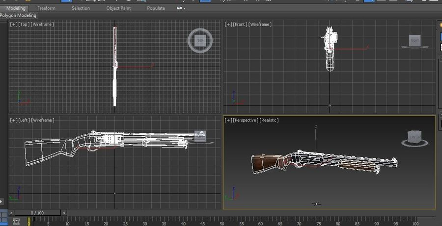Rifle low poly weapon royalty-free 3d model - Preview no. 27