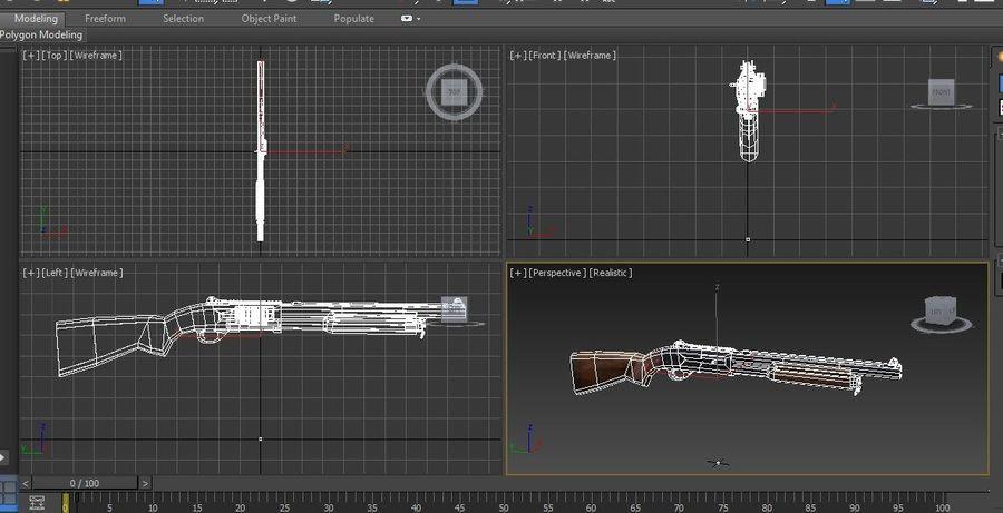 Fucile basso poli arma royalty-free 3d model - Preview no. 27
