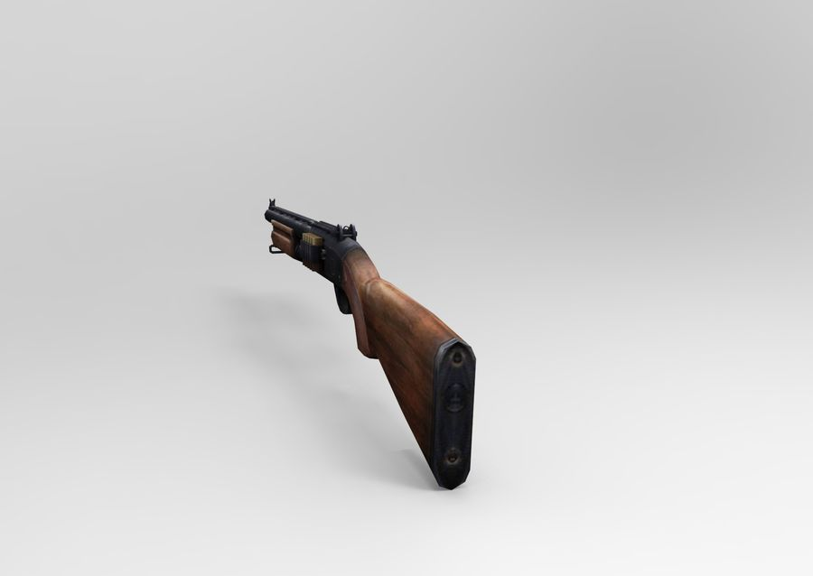 Rifle low poly weapon royalty-free 3d model - Preview no. 10