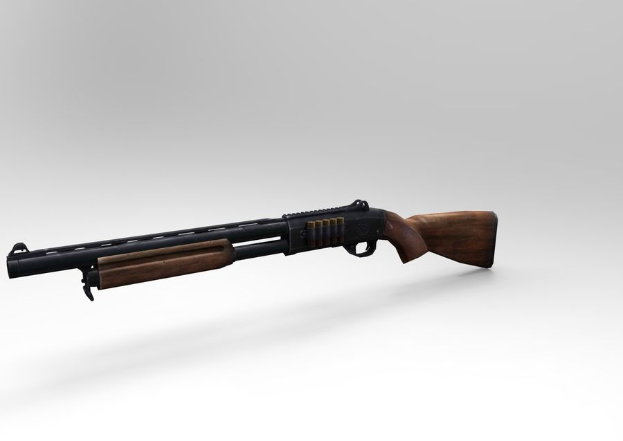 Rifle low poly weapon royalty-free 3d model - Preview no. 6