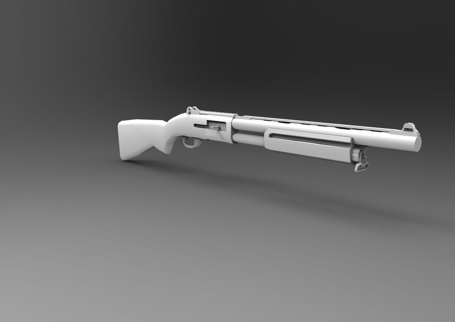Rifle low poly weapon royalty-free 3d model - Preview no. 24