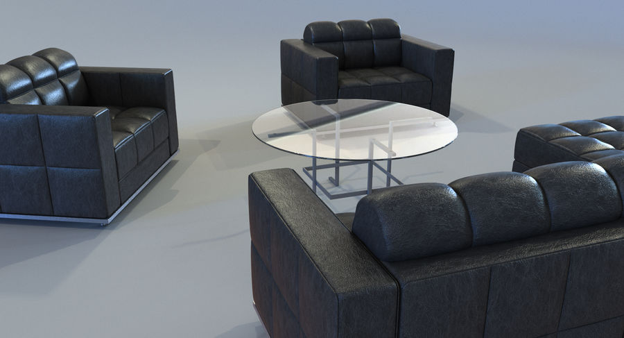 Sofa + Armchair + Table set royalty-free 3d model - Preview no. 4
