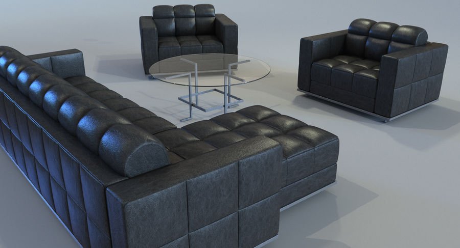 Sofa + Armchair + Table set royalty-free 3d model - Preview no. 3