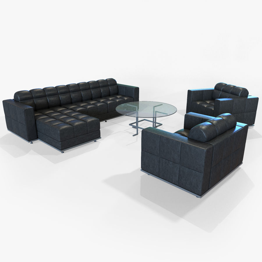 Sofa + Armchair + Table set royalty-free 3d model - Preview no. 14
