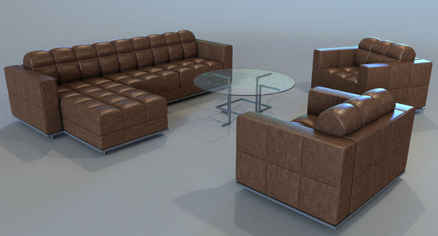 Sofa + Armchair + Table set royalty-free 3d model - Preview no. 6