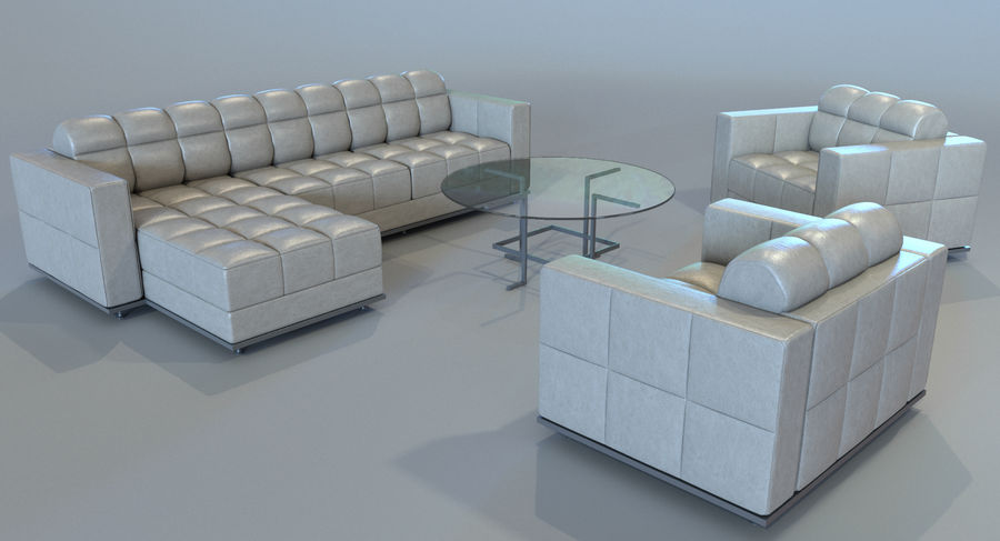 Sofa + Armchair + Table set royalty-free 3d model - Preview no. 7