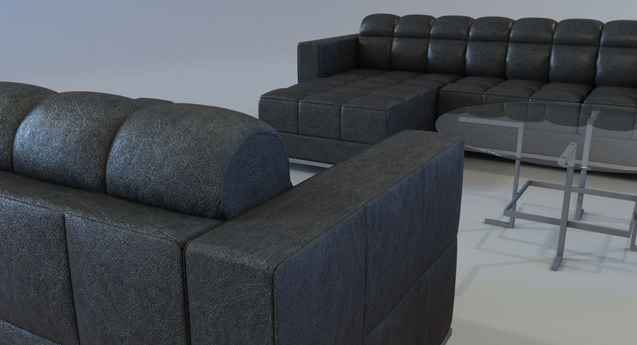 Sofa + Armchair + Table set royalty-free 3d model - Preview no. 5