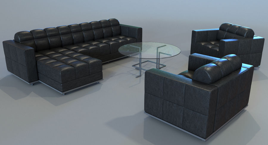 Sofa + Armchair + Table set royalty-free 3d model - Preview no. 2