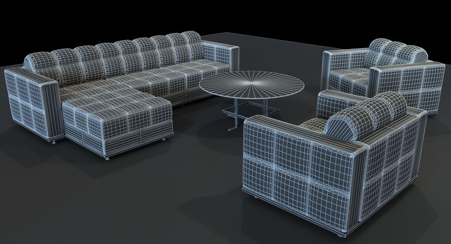 Sofa + Armchair + Table set royalty-free 3d model - Preview no. 10