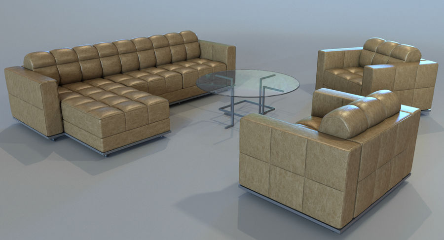 Sofa + Armchair + Table set royalty-free 3d model - Preview no. 8