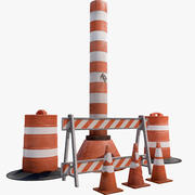 Traffic Barrier Set 3d model