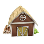 cartoon house farm 3d model