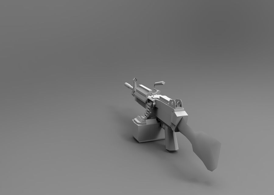 machine gun  low poly royalty-free 3d model - Preview no. 20