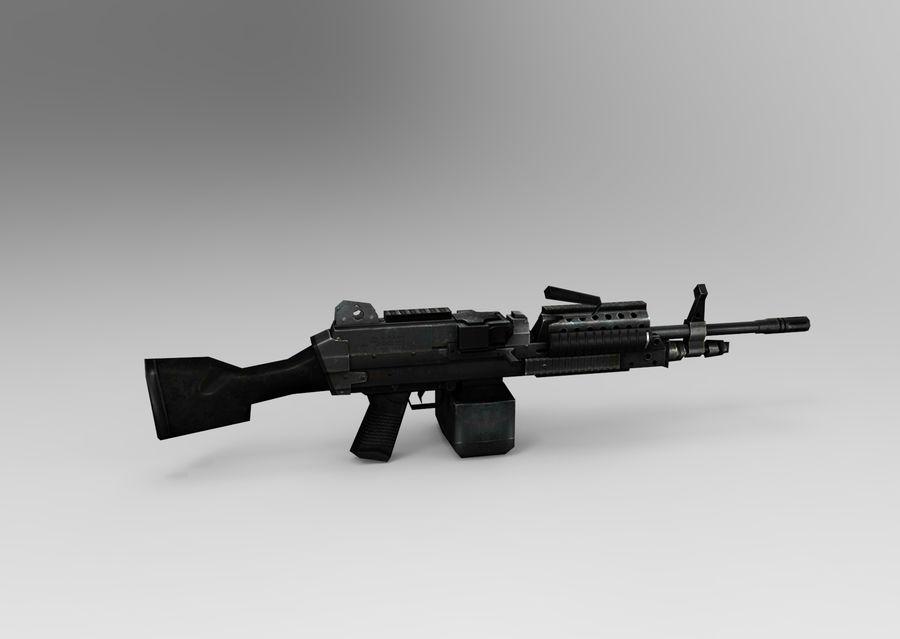 machine gun  low poly royalty-free 3d model - Preview no. 7