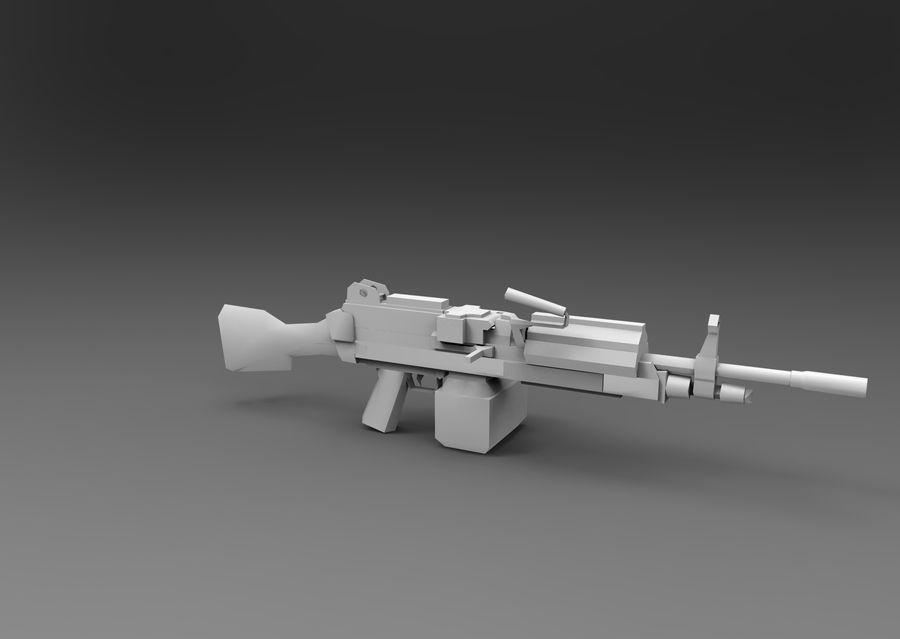 machine gun  low poly royalty-free 3d model - Preview no. 17