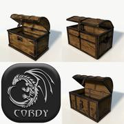 Wooden chests low poly x3 package 3d model