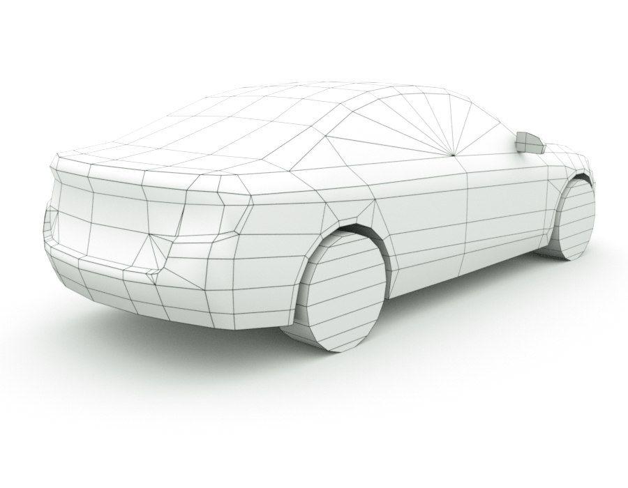 Generic Sedan v7 royalty-free 3d model - Preview no. 8