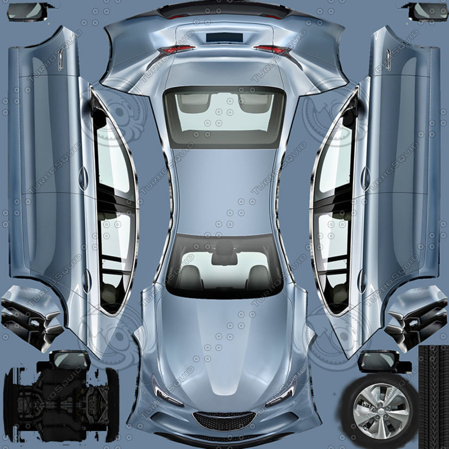 Generic Sedan v7 royalty-free 3d model - Preview no. 9