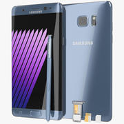 Samsung Galaxy Note 7 Blue Coral с лотком для SIM / SD-карты и ручкой S 3d model
