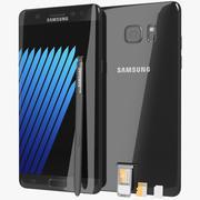 SIM / SD 카드 트레이 및 S 펜이 장착 된 Samsung Galaxy Note 7 Black Onyx 3d model