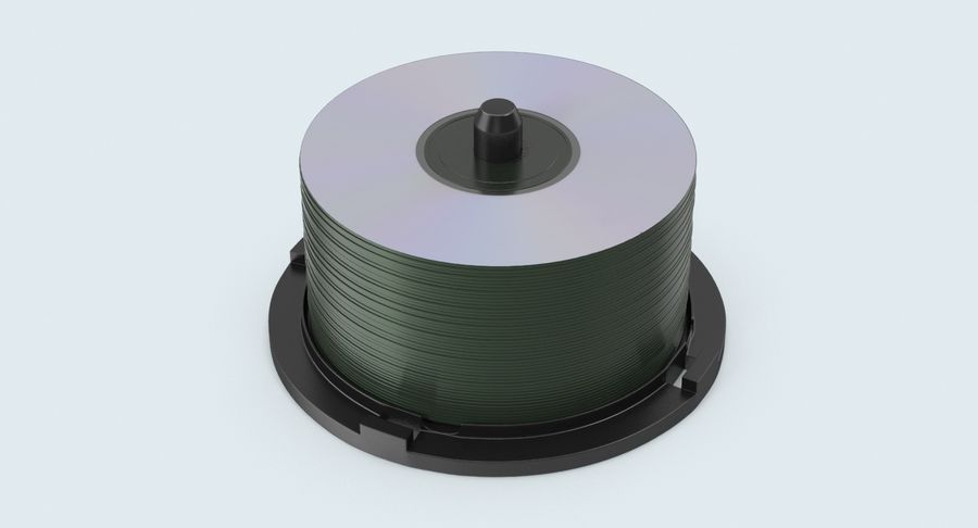 Spool of CDs royalty-free 3d model - Preview no. 5