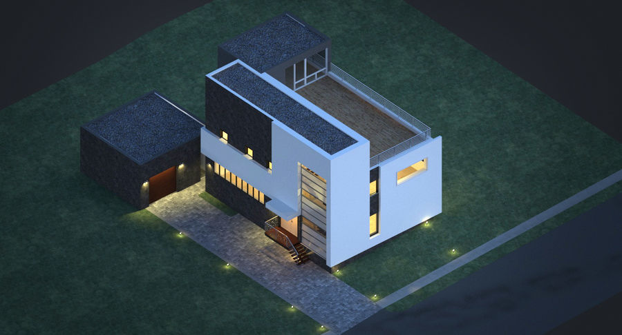 House Modern Architecture royalty-free 3d model - Preview no. 6