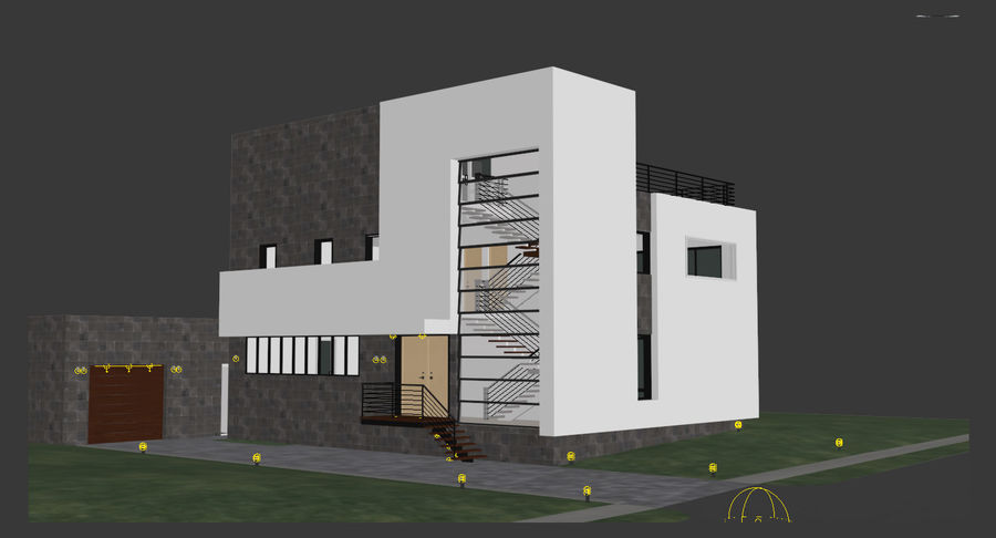 Hus Modern Arkitektur royalty-free 3d model - Preview no. 7