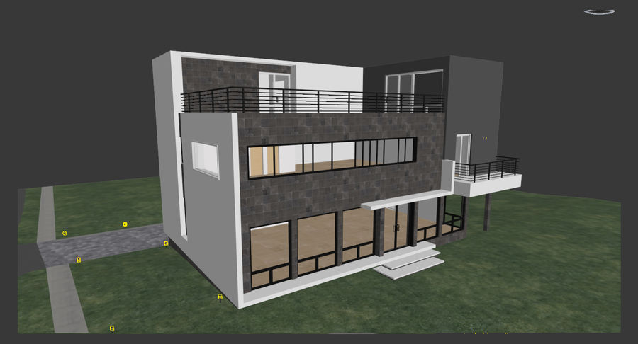 House Modern Architecture royalty-free 3d model - Preview no. 8