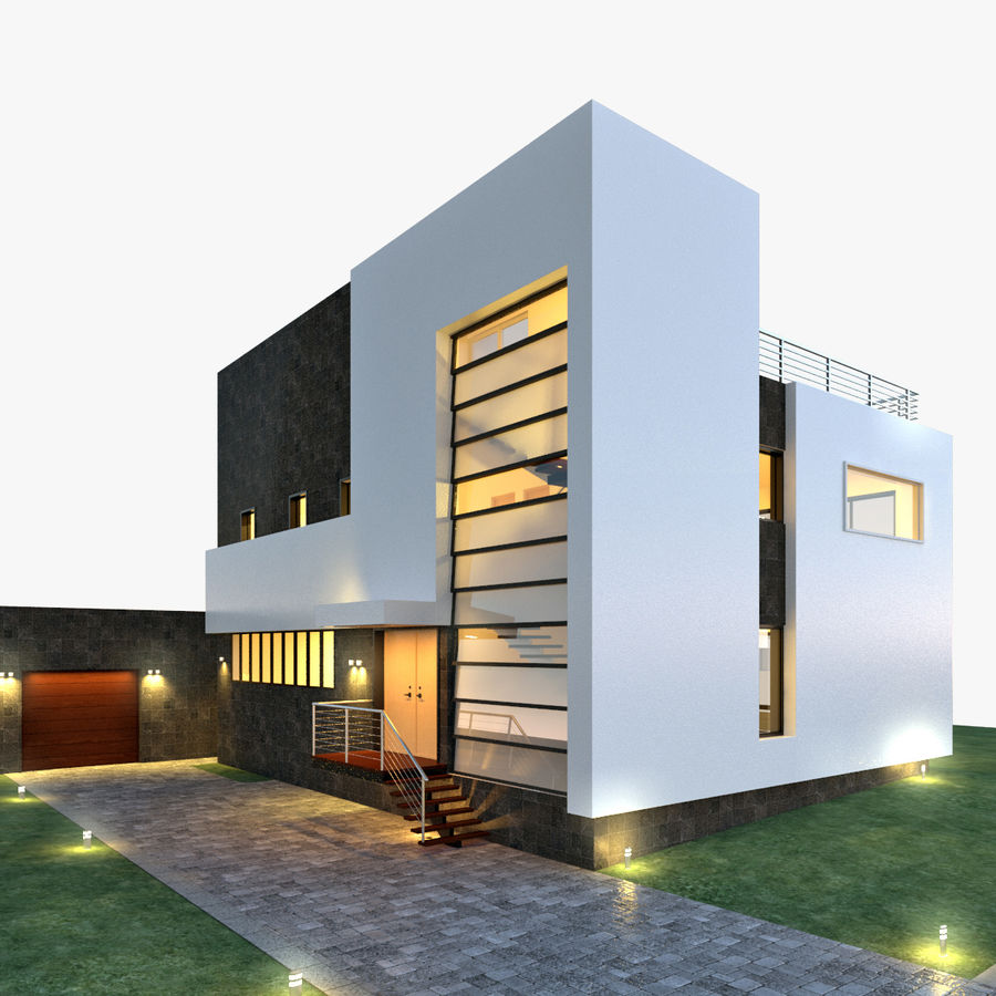 Hus Modern Arkitektur royalty-free 3d model - Preview no. 1
