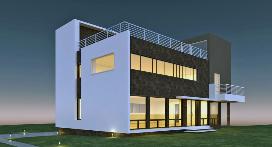 Maison architecture moderne royalty-free 3d model - Preview no. 3